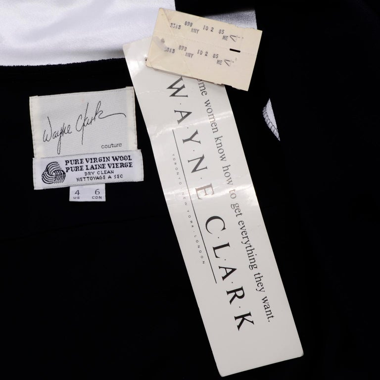 Deadstock Wayne Clark Couture Vintage Wool 1980s Dress New With Original Tags For Sale 7