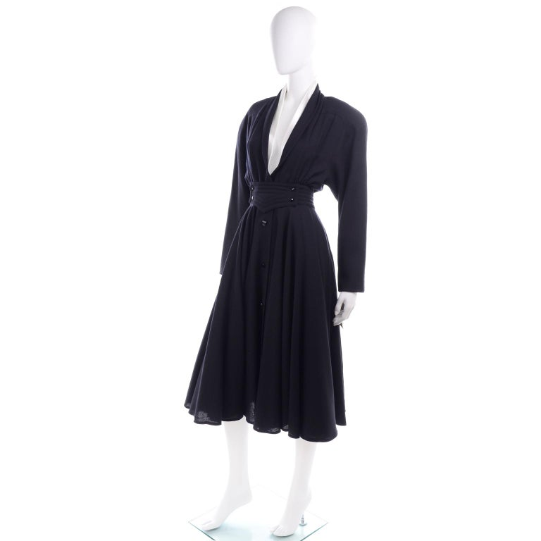 Black Deadstock Wayne Clark Couture Vintage Wool 1980s Dress New With Original Tags For Sale