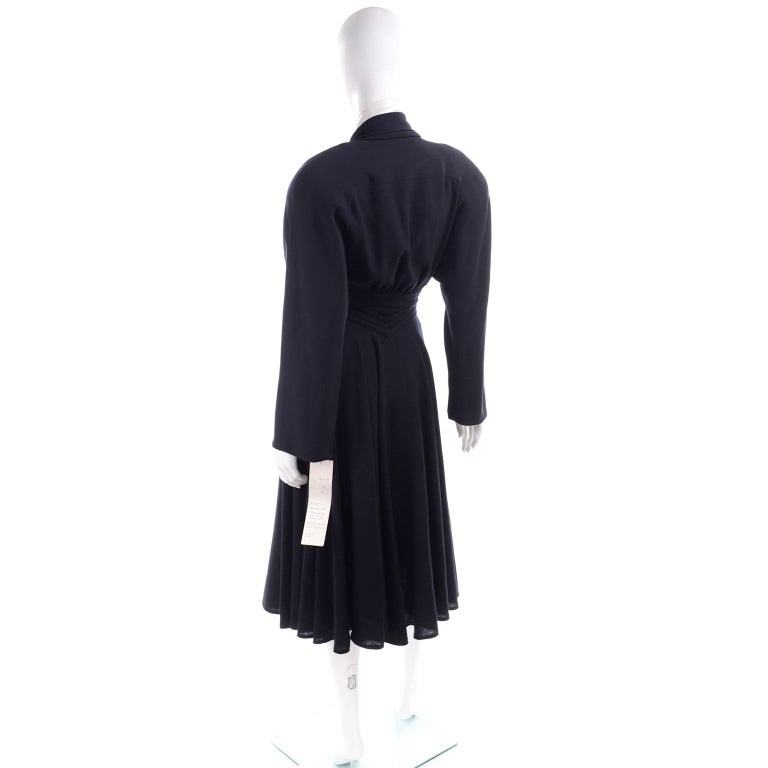 Deadstock Wayne Clark Couture Vintage Wool 1980s Dress New With Original Tags In New Condition For Sale In Portland, OR