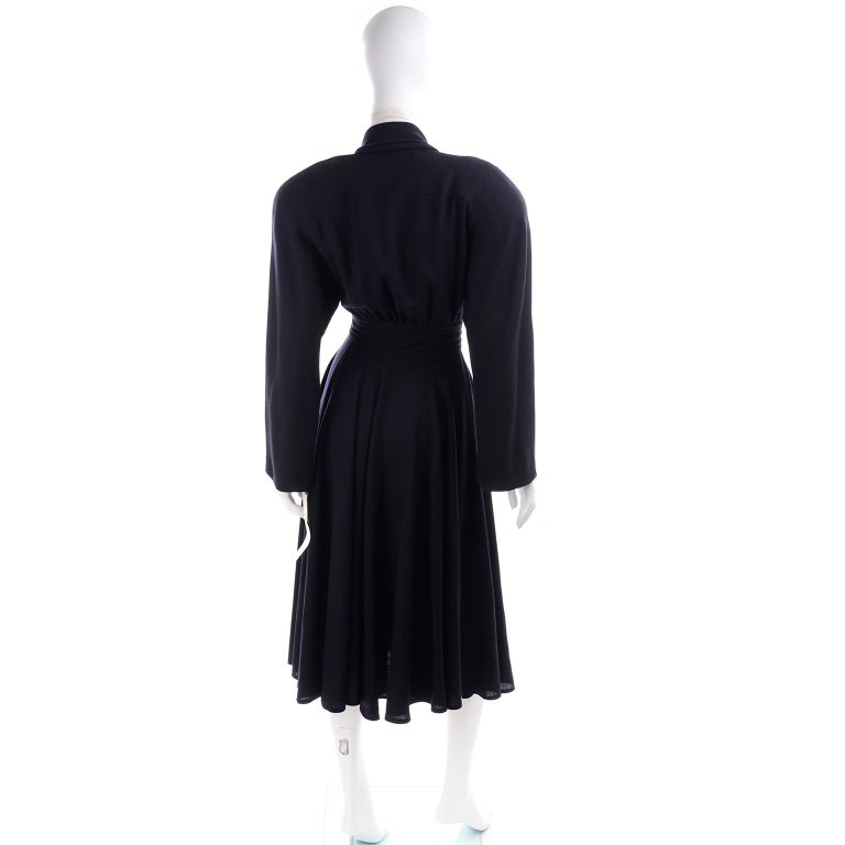 Women's Deadstock Wayne Clark Couture Vintage Wool 1980s Dress New With Original Tags For Sale