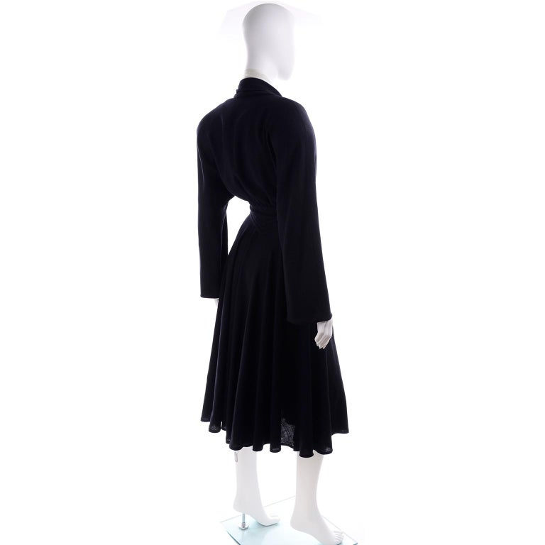 Deadstock Wayne Clark Couture Vintage Wool 1980s Dress New With Original Tags For Sale 1