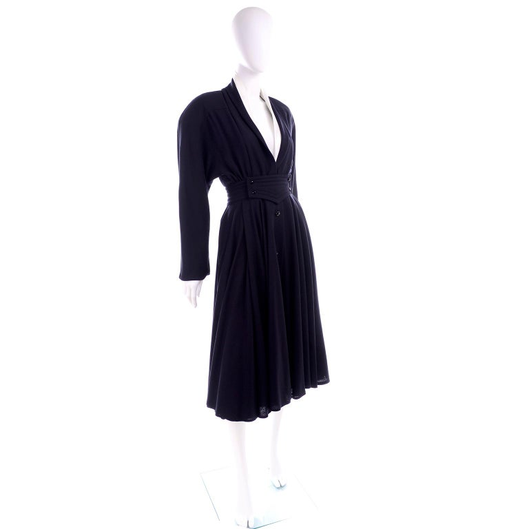 Deadstock Wayne Clark Couture Vintage Wool 1980s Dress New With Original Tags For Sale 2