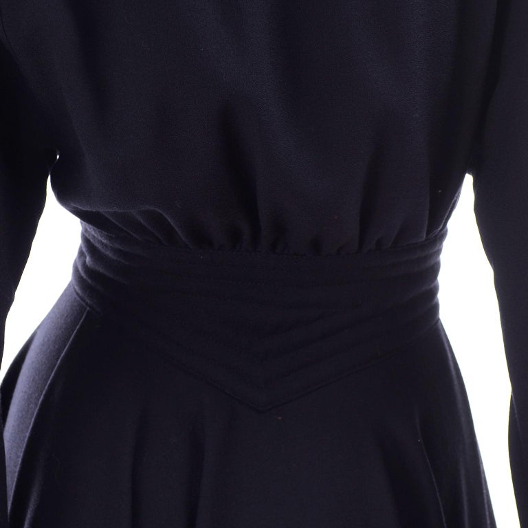 Deadstock Wayne Clark Couture Vintage Wool 1980s Dress New With Original Tags For Sale 3
