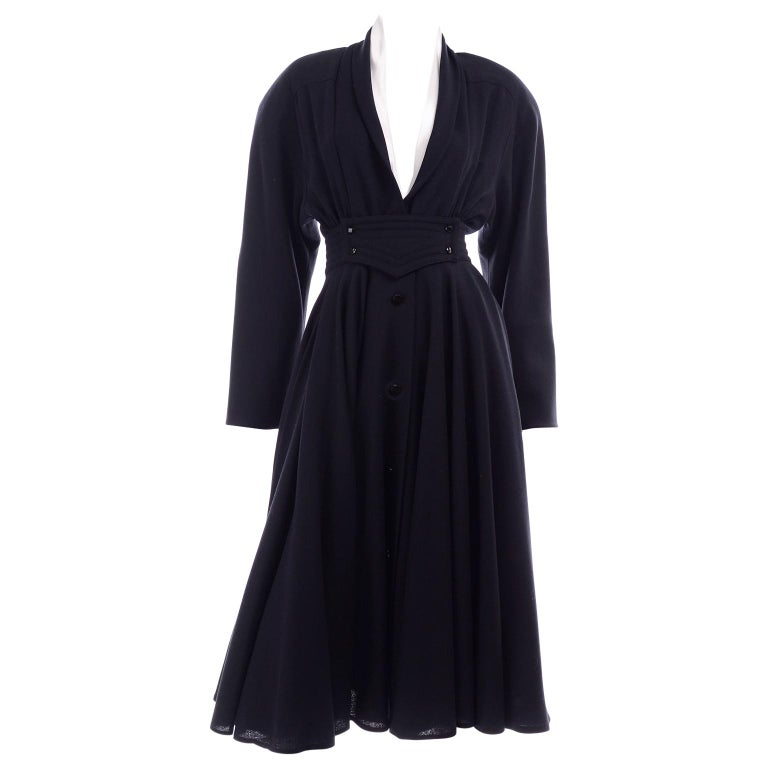 Deadstock Wayne Clark Couture Vintage Wool 1980s Dress New With Original Tags For Sale