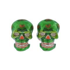 Deakin & Francis Mexican Skull Green Enamel Cufflinks