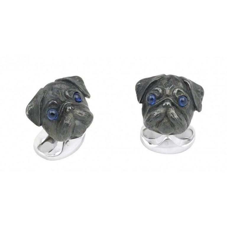 Deakin & Francis Sterling Silver Pug Head Cufflinks