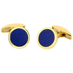 Deakin & Francis 18 Carat Gold Cufflinks with Lapis Lasuli Inlay