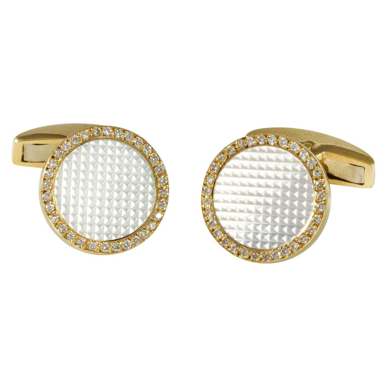 Deakin & Francis 18 Carat Gold Round Hobnail Patterned Cufflinks with Diamonds For Sale