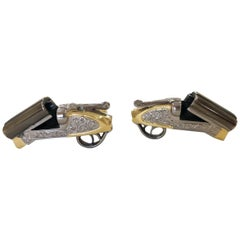 Deakin & Francis 18 Karat Gold Shotgun Cufflinks Barrel Cartridge