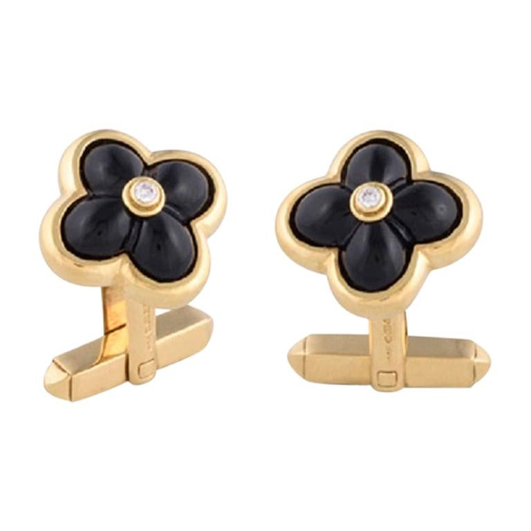 Deakin & Francis 18 Karat Gold Sugarloaf Onyx and Diamond Centre Cufflinks For Sale