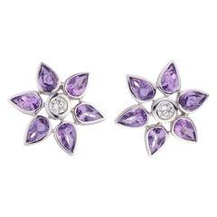 Deakin & Francis 18 Karat White Gold Amethyst and Diamond Cluster Earrings
