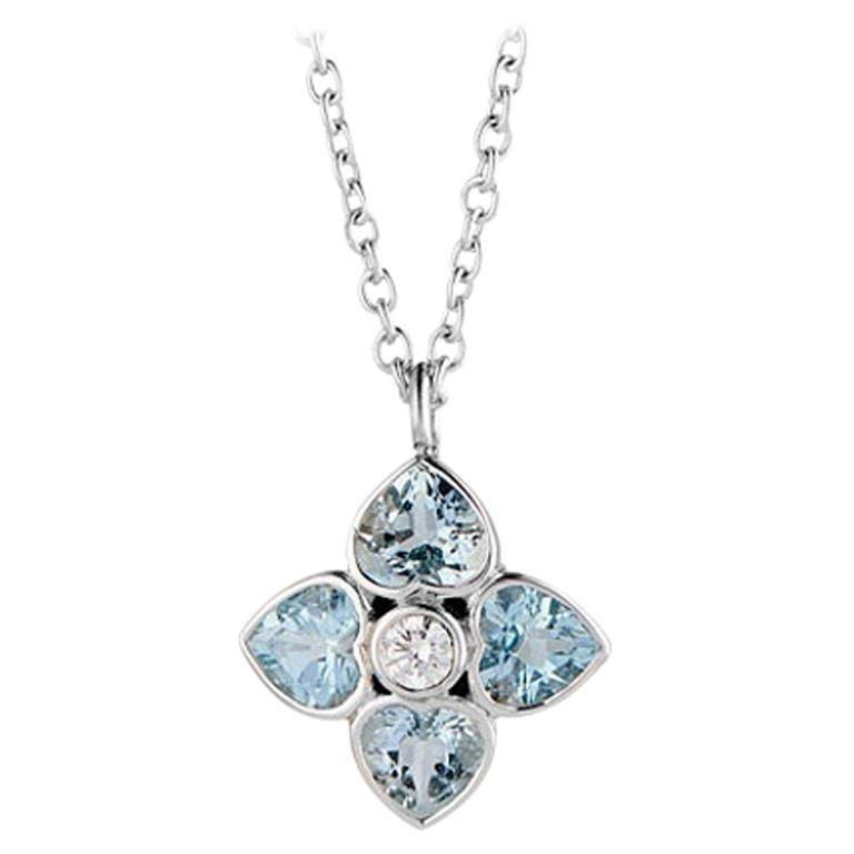 Deakin & Francis 18 Karat White Gold Aquamarine and Diamond Cluster Pendant