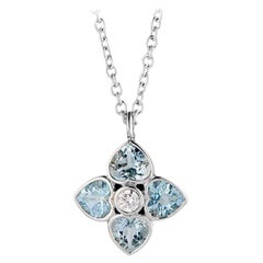 Deakin & Francis 18 Karat White Gold Aquamarine and Diamond Cluster Pendant