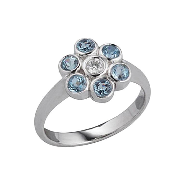 Deakin & Francis 18 Karat White Gold Aquamarine and Diamond Cluster Ring