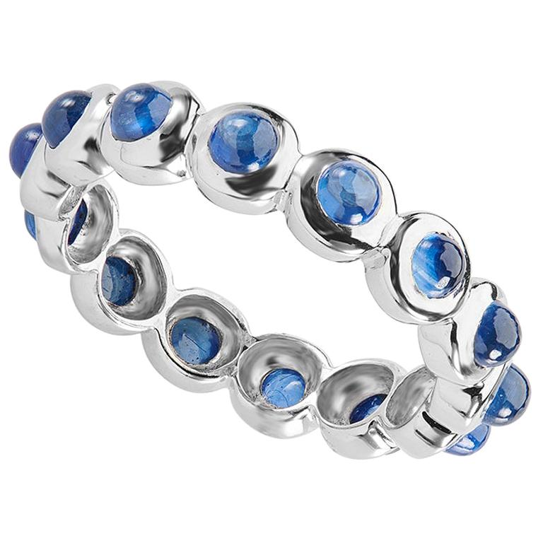 Deakin & Francis 18 Karat White Gold Cabochon Sapphire Eternity Ring