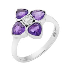 Deakin & Francis 18 Karat White Gold Diamond and Amethyst Cluster Ring