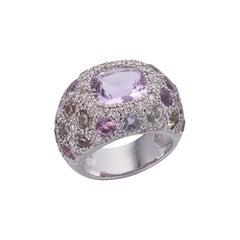 Deakin & Francis 18 Karat White Gold Diamond and Kunzite Ring