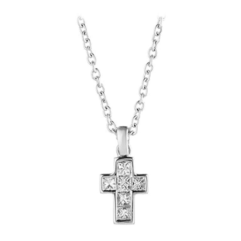 Deakin & Francis 18 Karat White Gold Diamond Cross Pendant and Chain