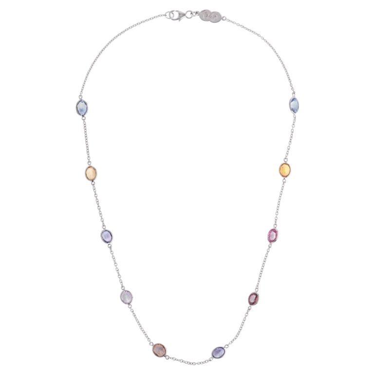 Deakin & Francis 18 Karat White Gold Fancy Colour Sapphire Necklace