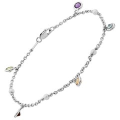 Deakin & Francis 18 Karat White Gold Multi-Gemstone and Cultured Pearl Bracelet