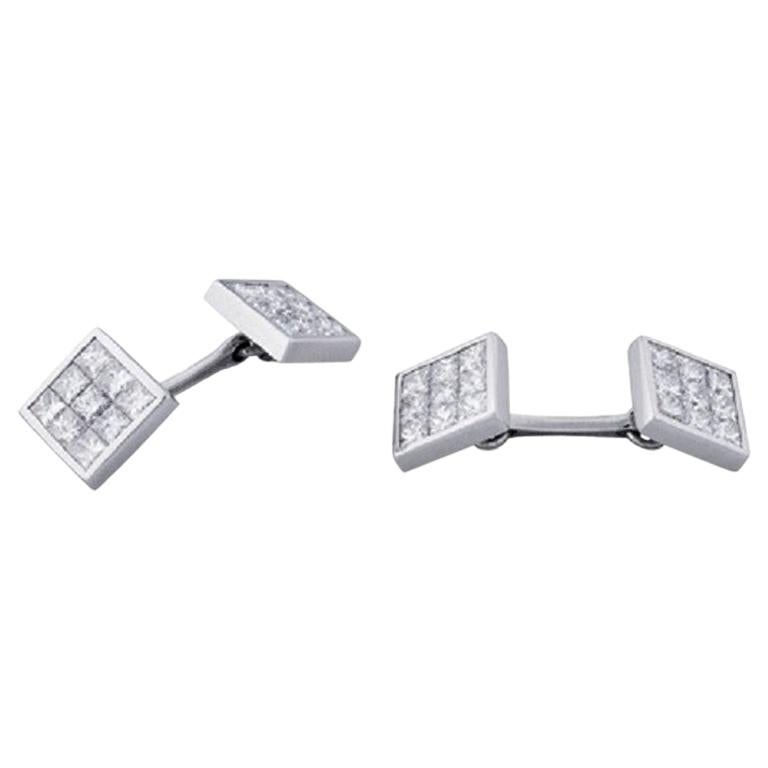Deakin & Francis 18 Karat White Gold Pave Set Diamond Cufflinks For Sale