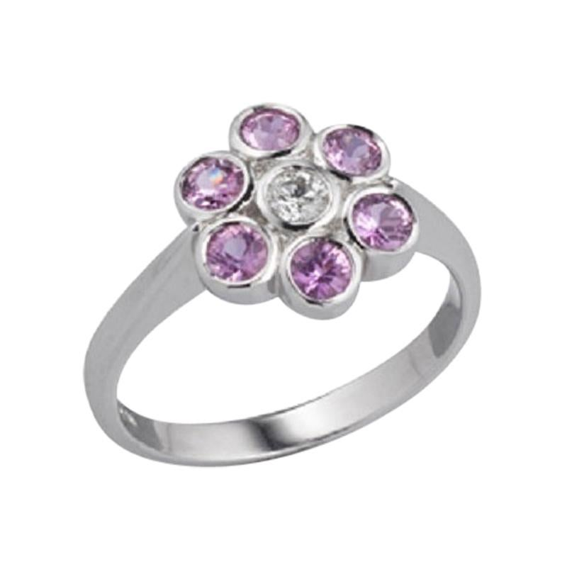 Deakin & Francis 18 Karat White Gold Pink Sapphire and Diamond Cluster Ring