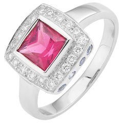 Deakin & Francis 18 Karat White Gold Rubellite and Diamond Ring with Sapphires