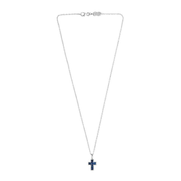 Contemporary Deakin & Francis 18 Karat White Gold Sapphire Cross Pendant and Chain For Sale