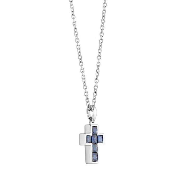 Princess Cut Deakin & Francis 18 Karat White Gold Sapphire Cross Pendant and Chain For Sale