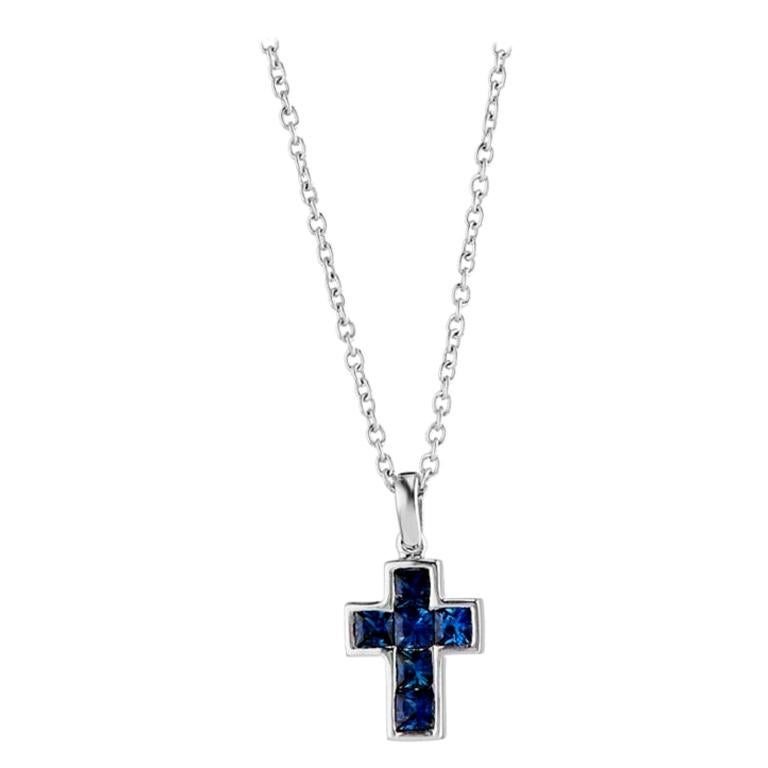 Deakin & Francis 18 Karat White Gold Sapphire Cross Pendant and Chain For Sale