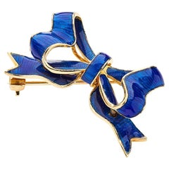 Deakin & Francis 18 Karat Yellow Gold Blue Enamel Bow Brooch