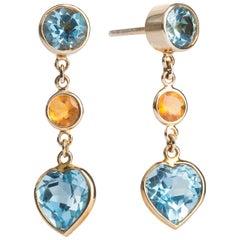 Deakin & Francis 18 Karat Yellow Gold Blue Topaz and Fire Opal Drop Earrings