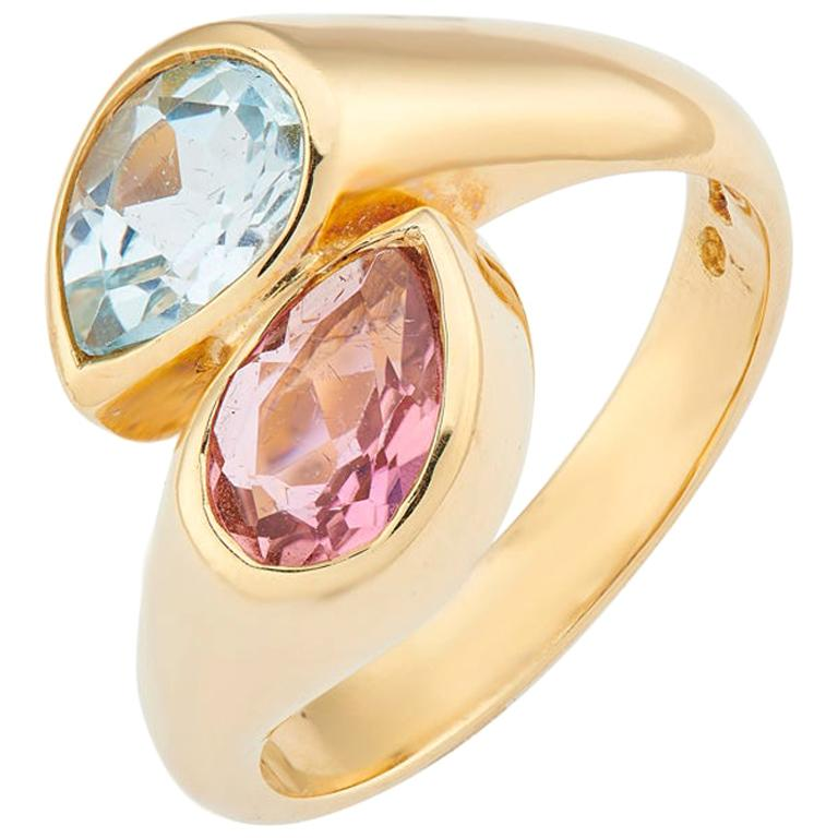 Deakin & Francis 18 Karat Yellow Gold Blue Topaz and Pink Tourmaline Ring