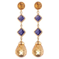 Deakin & Francis 18 Karat Yellow Gold Citrine and Iolite Drop Earrings