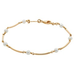 Deakin & Francis 18 Karat Yellow Gold Cultured Pearl Bracelet
