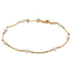 Deakin & Francis 18 Karat Yellow Gold Cultured Pearl Bracelet