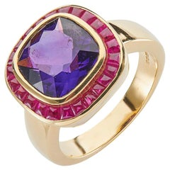 Deakin & Francis 18 Karat Yellow Gold Cushion Shape Amethyst and Ruby Ring