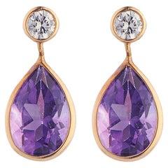 Deakin & Francis 18 Karat Yellow Gold Diamond and Amethyst Drop Earrings