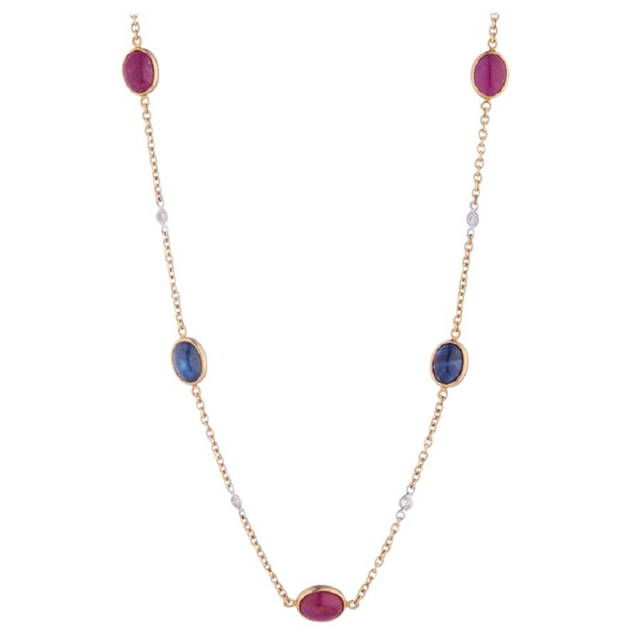Deakin & Francis 18 Karat Yellow Gold Diamond, Ruby and Sapphire Necklace