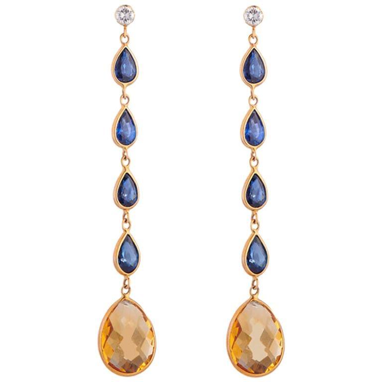 Deakin & Francis 18 Karat Yellow Gold Diamond Sapphire and Citrine Drop Earrings