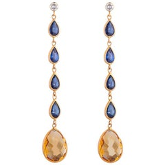 Deakin & Francis 18 Karat Yellow Gold Diamond Sapphire and Citrine Drop Earrings