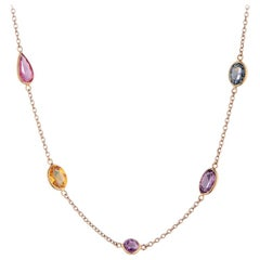 Deakin & Francis 18 Karat Yellow Gold Fancy Color and Shape Sapphire Necklace
