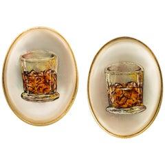 Deakin & Francis 18 Karat Gelbgold Bemaltes Whiskey-Glas Manschettenknöpfe