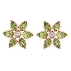 Deakin & Francis 18 Karat Yellow Gold Peridot and Diamond Large Cluster Earrings