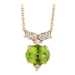 Deakin & Francis 18 Karat Yellow Gold Peridot and Diamond Pendant