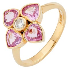 Deakin & Francis 18 Karat Yellow Gold Pink Sapphire and Diamond Cluster Ring
