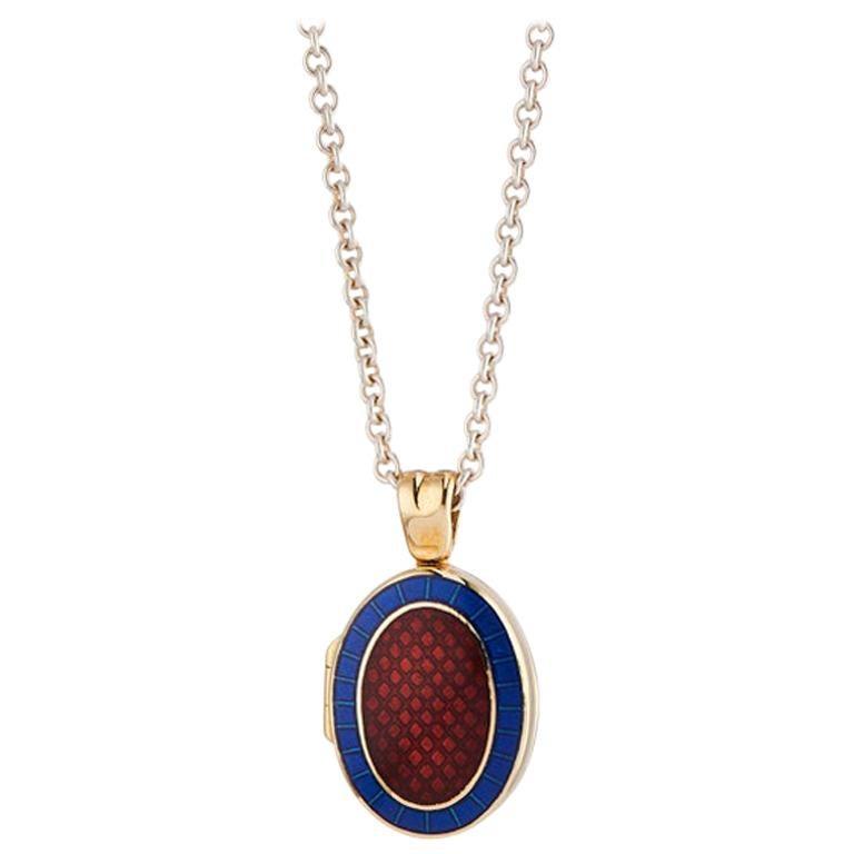 Deakin & Francis 18 Karat Yellow Gold Royal Blue and Red Enamel Locket