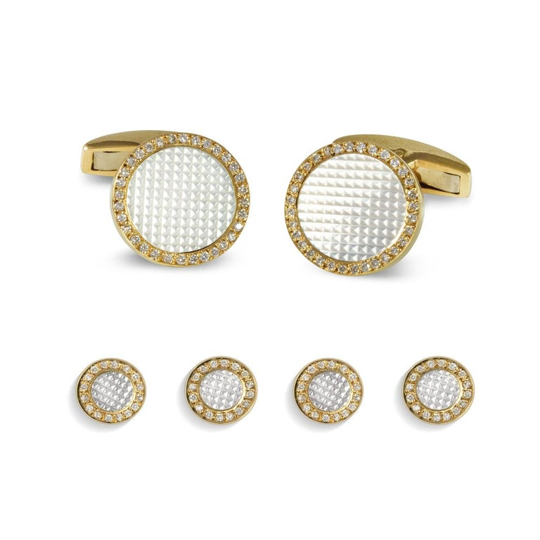Round Cut Deakin & Francis 18 Carat Gold Round Hobnail Patterned Cufflinks with Diamonds For Sale