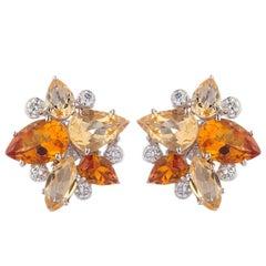 Deakin & Francis 18k White Gold Light and Dark Citrine Earrings with Diamonds