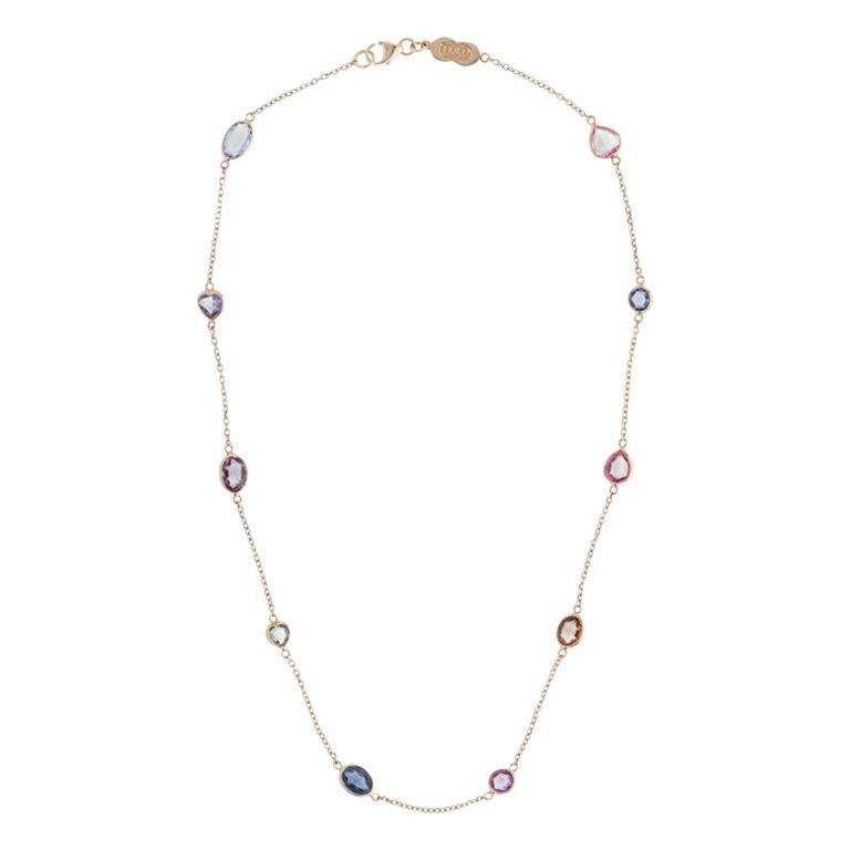 Deakin & Francis 18K Yellow Gold Fancy Color and Fancy Shape Sapphire Necklace